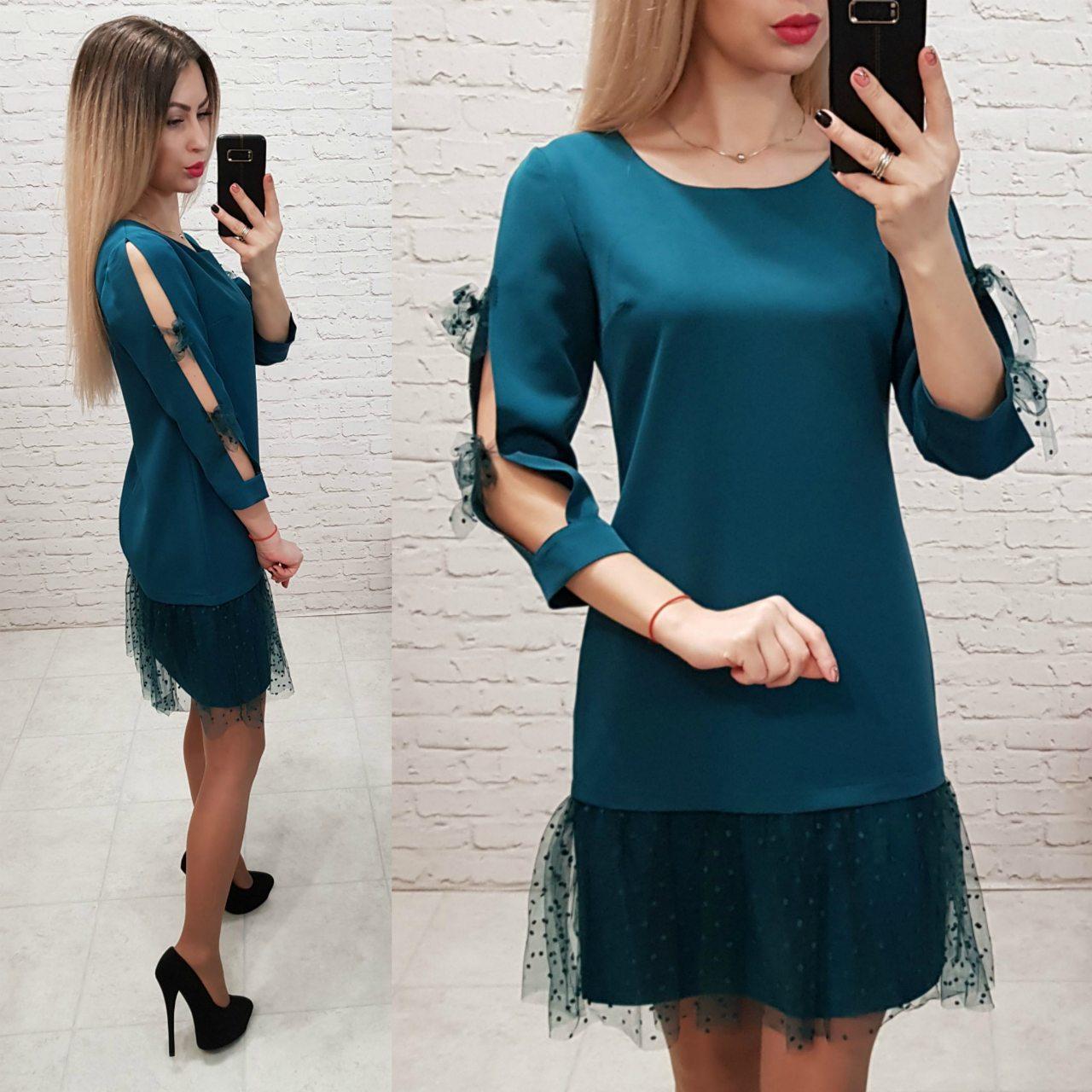 Платье арт. 154 сине-зеленый / морская волна / аквамарин