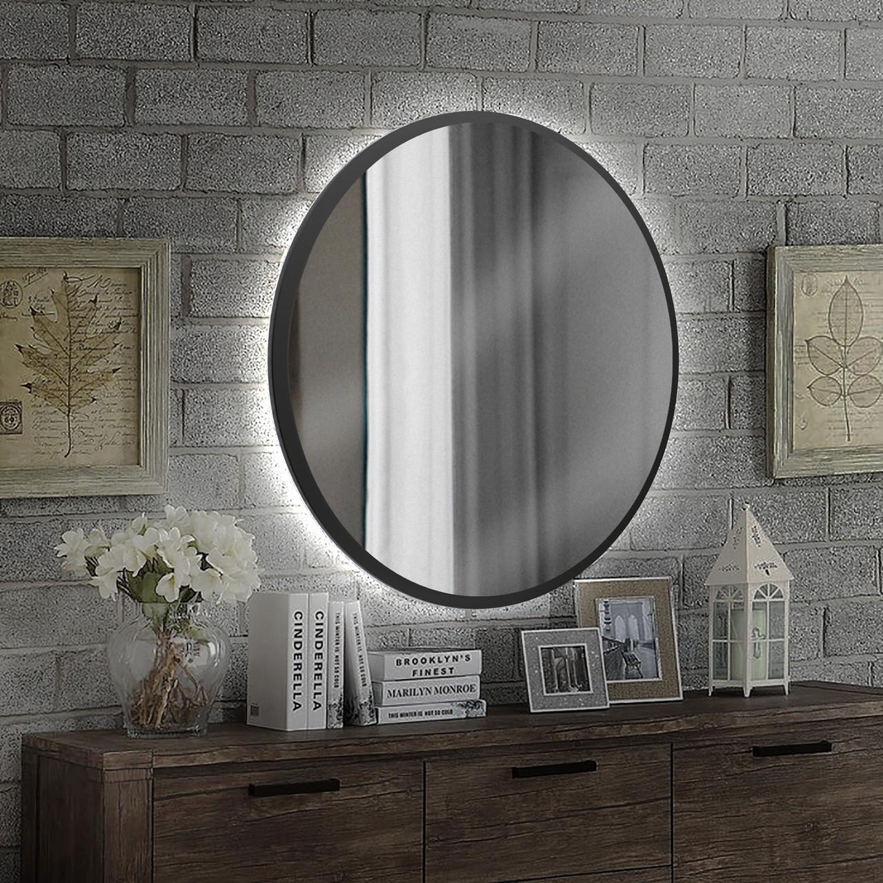 Круглое зеркало в черном цвете с подсветкой 800 мм