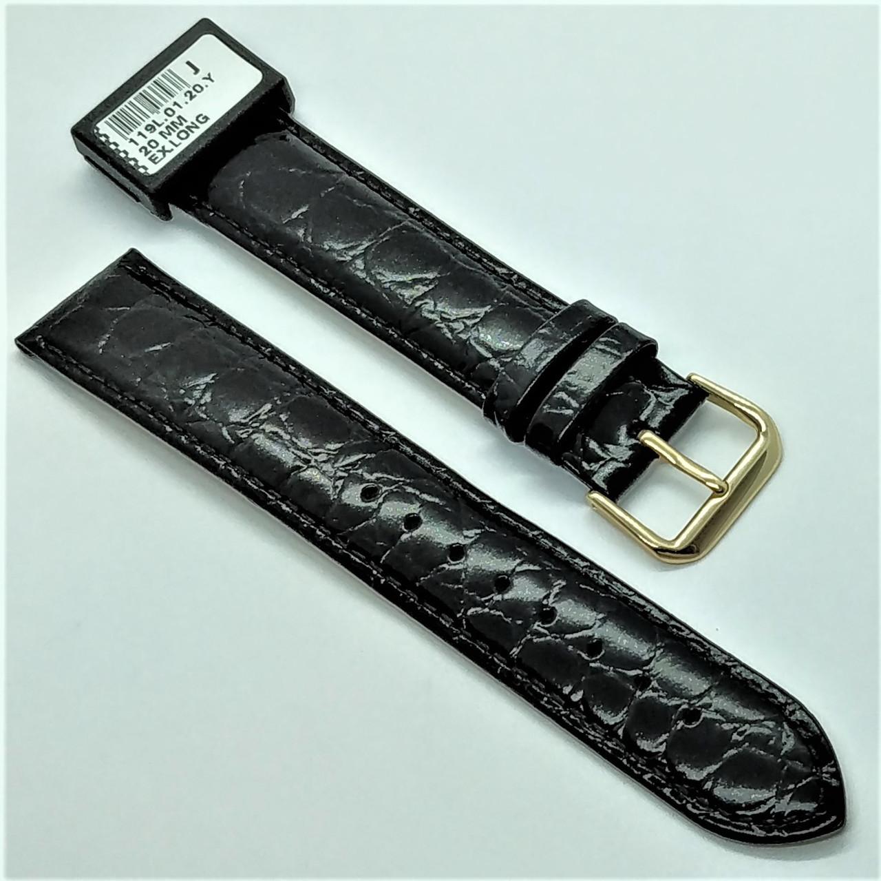 20 мм Кожаный Ремешок для часов CONDOR 119L.20.01 Черный Ремешок на часы из Натуральной кожи удлиненный