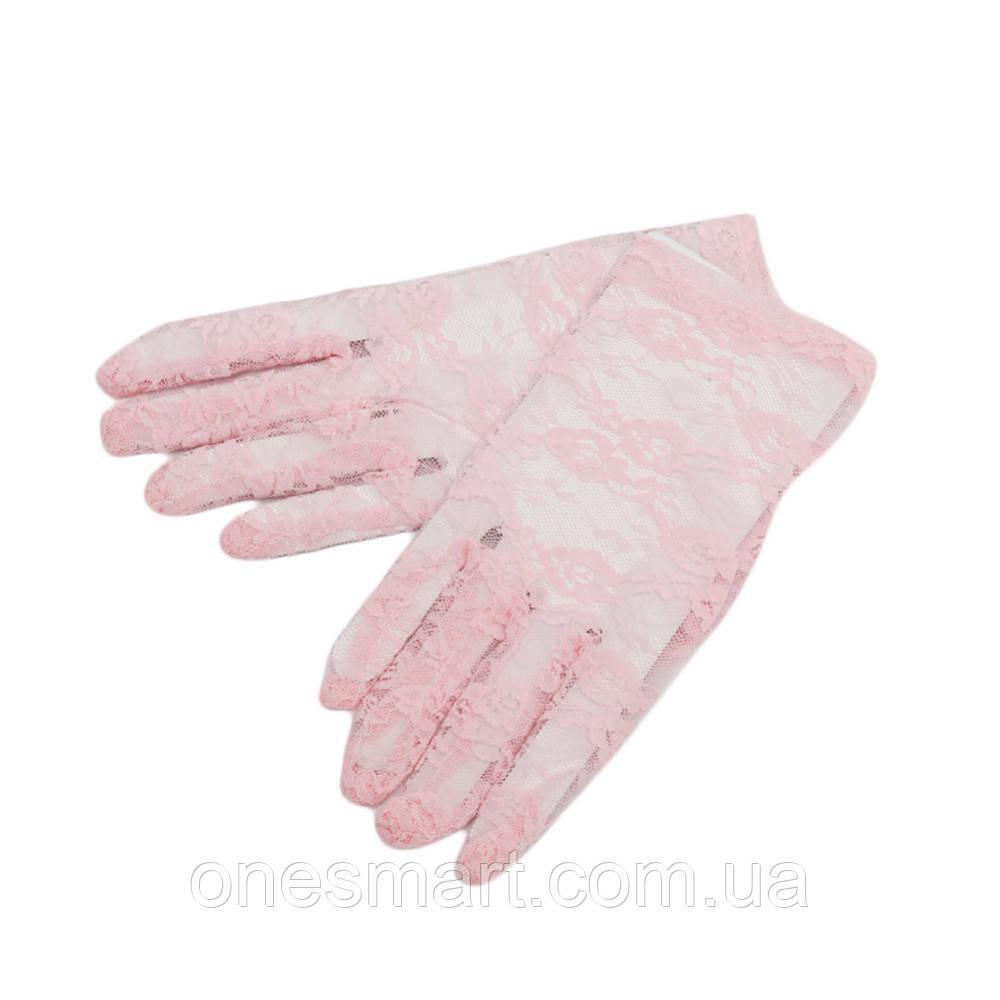 Оригінальні ніжно рожевого кольору мереживні рукавички