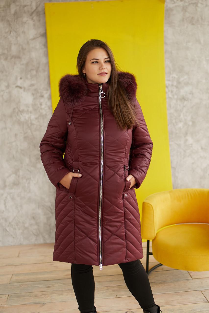 Женская тёплая, удобная и красивая зимняя куртка 231 / размер 52-68 цвет бордо