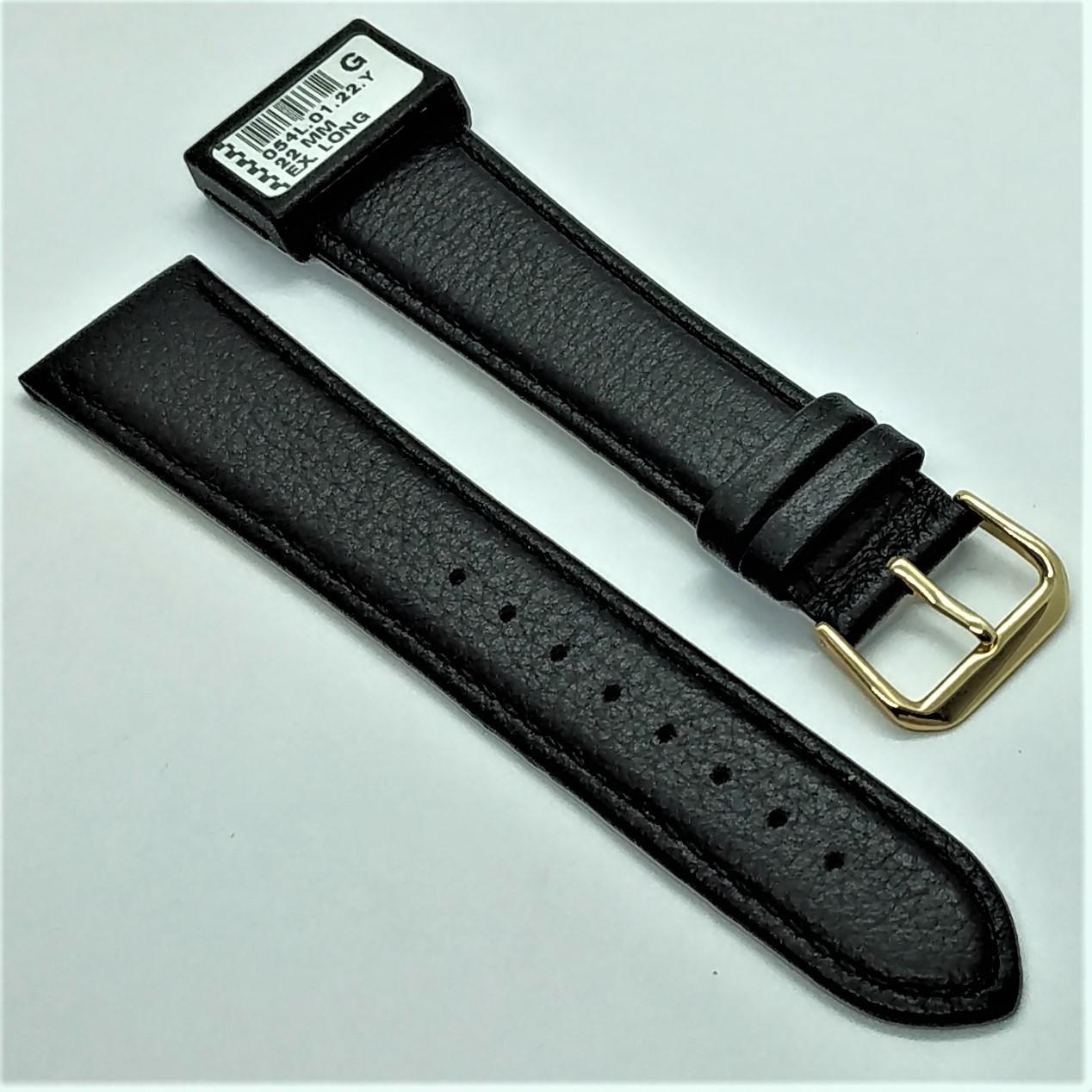 22 мм Кожаный Ремешок для часов CONDOR 054L.22.01 Черный Ремешок на часы из Натуральной кожи удлиненный