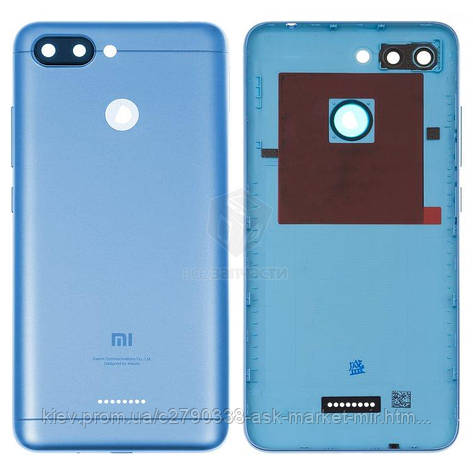 Задняя панель корпуса (крышка аккумулятора) для Xiaomi Redmi 6 1 Sim Original Dark Blue Кнопки регулировки громкости, кнопка включения, фото 2