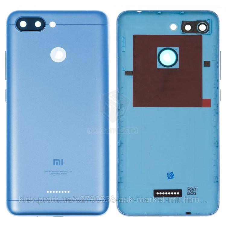 Задняя панель корпуса (крышка аккумулятора) для Xiaomi Redmi 6 1 Sim Original Dark Blue Кнопки регулировки громкости, кнопка включения