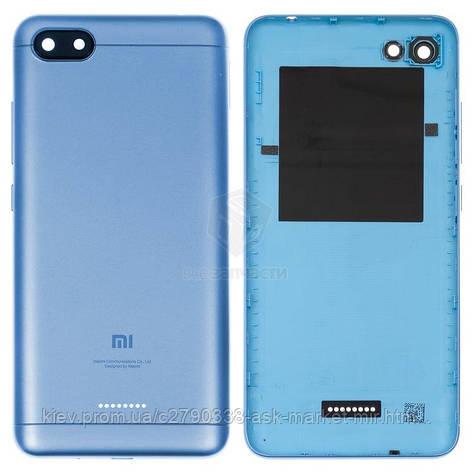 Задняя панель корпуса (крышка аккумулятора) для Xiaomi Redmi 6A 1 Sim Original Blue Кнопки регулировки громкости, кнопка включения, фото 2