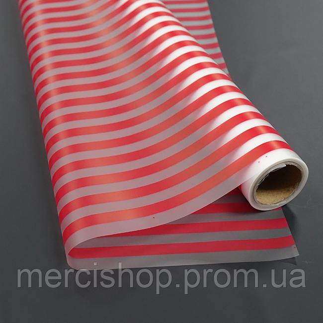 Плёнка матовая флористическая в красную полоску (10 м)