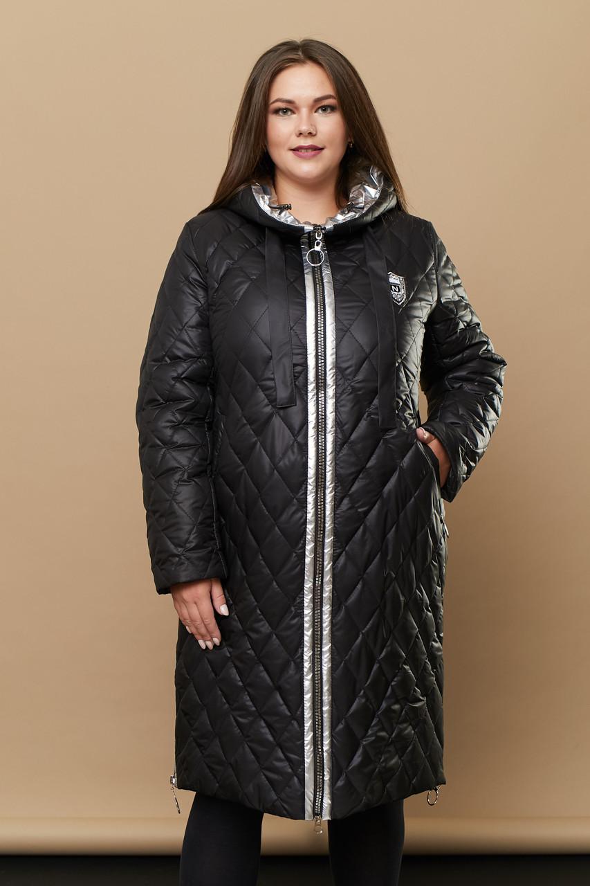 Женская зимняя стёганая куртка на молнии 239 / размер 52-68 цвет черный