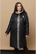 Женская зимняя стёганая куртка на молнии 239 / размер 52-68 цвет черный, фото 2