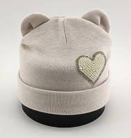 Детская шапка теплая с 48 по 52 размер зимние детские шапки ушками зимняя флисом теплые, фото 1
