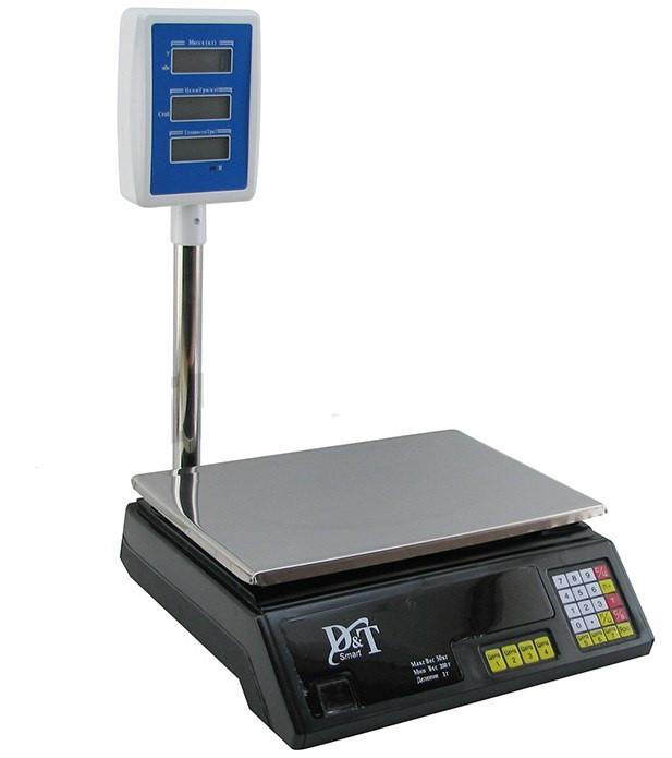 Ваги торгові DT-5053 50 кг електронні з лічильником ціни і двома табло