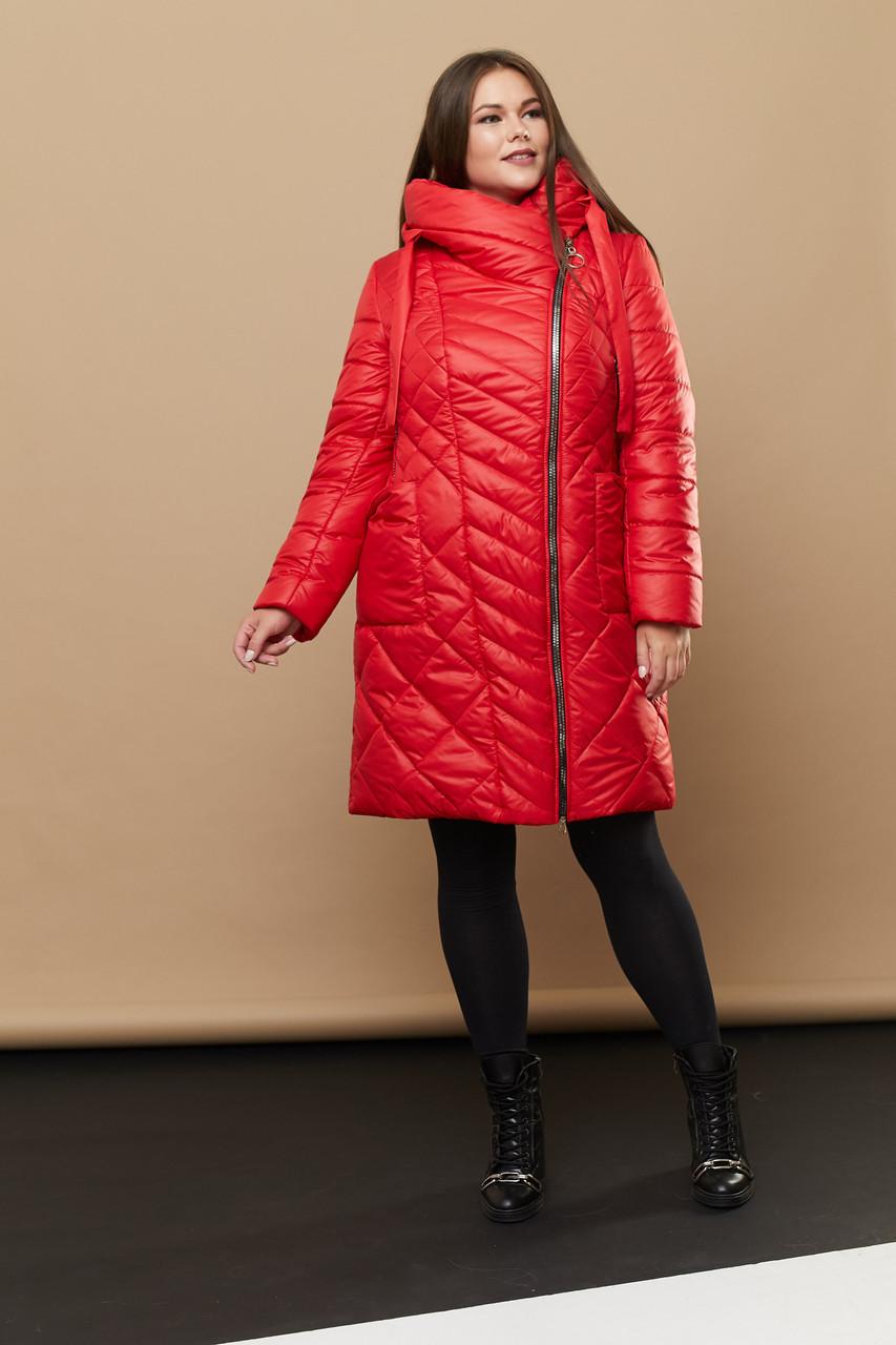 Женский стильный и практичный тёплый пуховик 230 / размер 46-68 / цвет красный