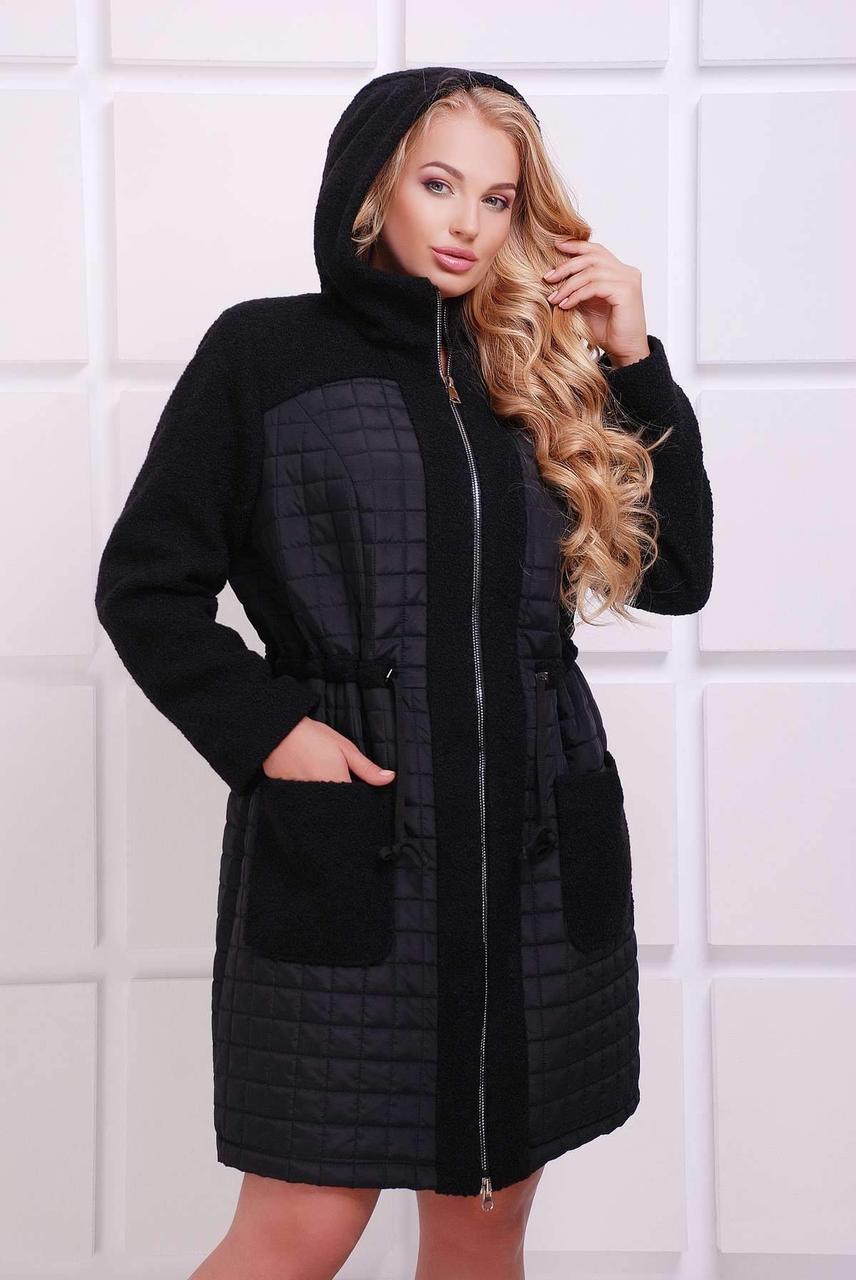 Демисезонное женское  пльто из комбинированной ткани  больших размеров с 54 по 62