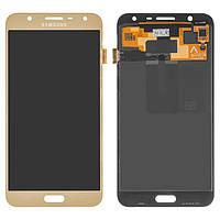 Дисплей Samsung J701F/DS Galaxy J7 Neo, золотистый, с сенсорным экраном, оригинал (переклеено стекло)