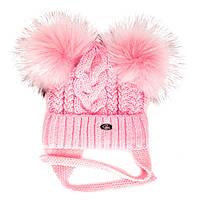 """Детская шапка """"Эмили"""" розовая (48-50, подкладка флис)"""