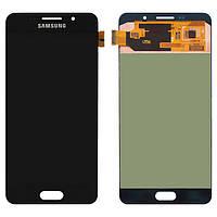Дисплей Samsung A710 Galaxy A7 (2016), черный, с сенсорным экраном, оригинал (переклеено стекло)