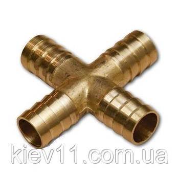Cоединитель на шланг  (крестовина, латунь) X-обр. 10*10*10мм AIRKRAFT E102-7-3
