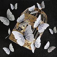 3D бабочки 12 шт.(бело-черные) декоративные наклейки на стену. Наклейки магнитные, интерьерные для декора.