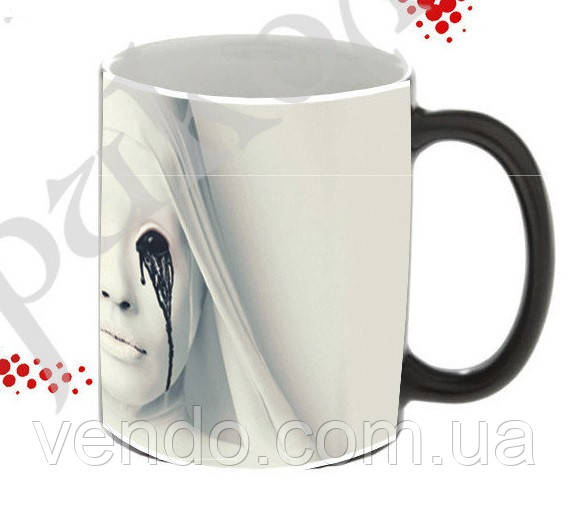 Кружка-чашка хамелеон с терморисунком История Ужасов 350 мл.(Хелоуин/Ужасы/Привидение)