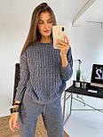 Женский теплый  костюм вязаный с сеткой на плечах ( джинс, кремовый, мокко), фото 4