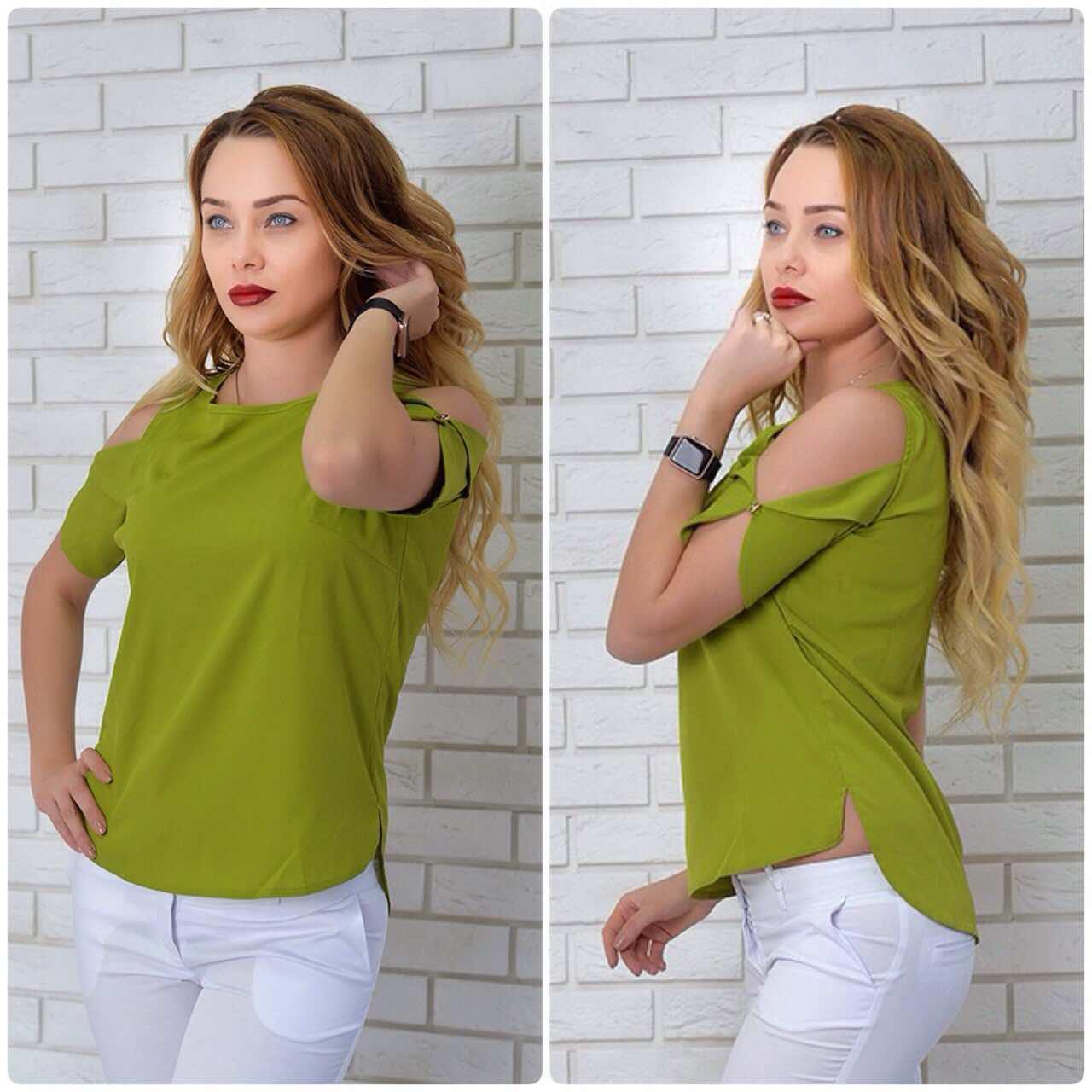 Блузка жіноча, модель 901/1 колір зелена гірчиця