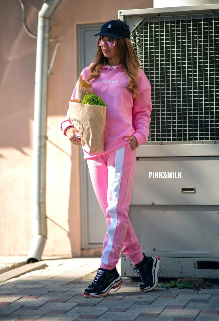 Женский теплый  костюм на флисе с капюшоном,розового цвета