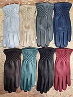 Замш с сенсором женские перчатки для работы на телефоне плоншете ANJELA стильные только оптом, фото 1