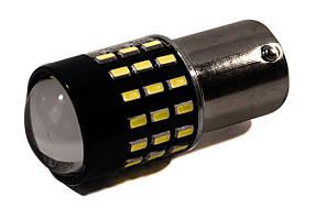 Светодиодная лампа AllLight T25 54 диода 3014 BA15S 12V с линзой + драйвер