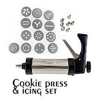 Кондитерский шприц-пресс для печенья 13 насадок, 7 сопел Cookie Set and Icing Set
