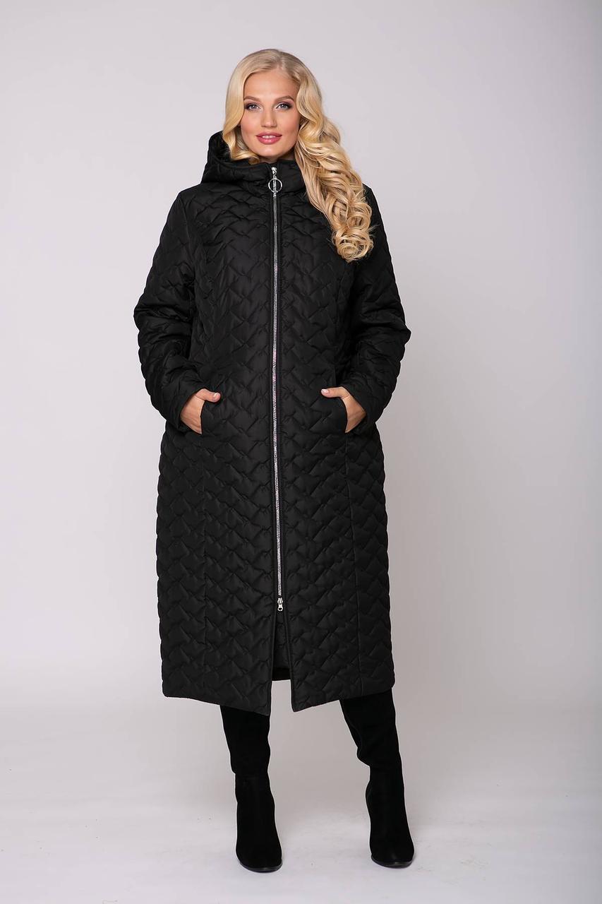 Зимнее стеганное женское  пальто с капюшоном  больших размеров с 58 по 68