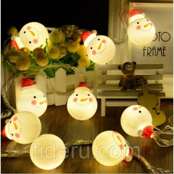 LED гирлянда фигурки Снеговик 12 Led, 5м