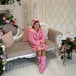 Яркий Халатик Eirena Nadine  для девочки на рост 134 розовый