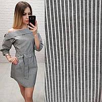 Платье на лето из льна арт. 161 черно-белая полоса