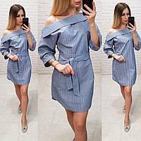 Плаття літнє льон / льон арт. 161 у синю смужку