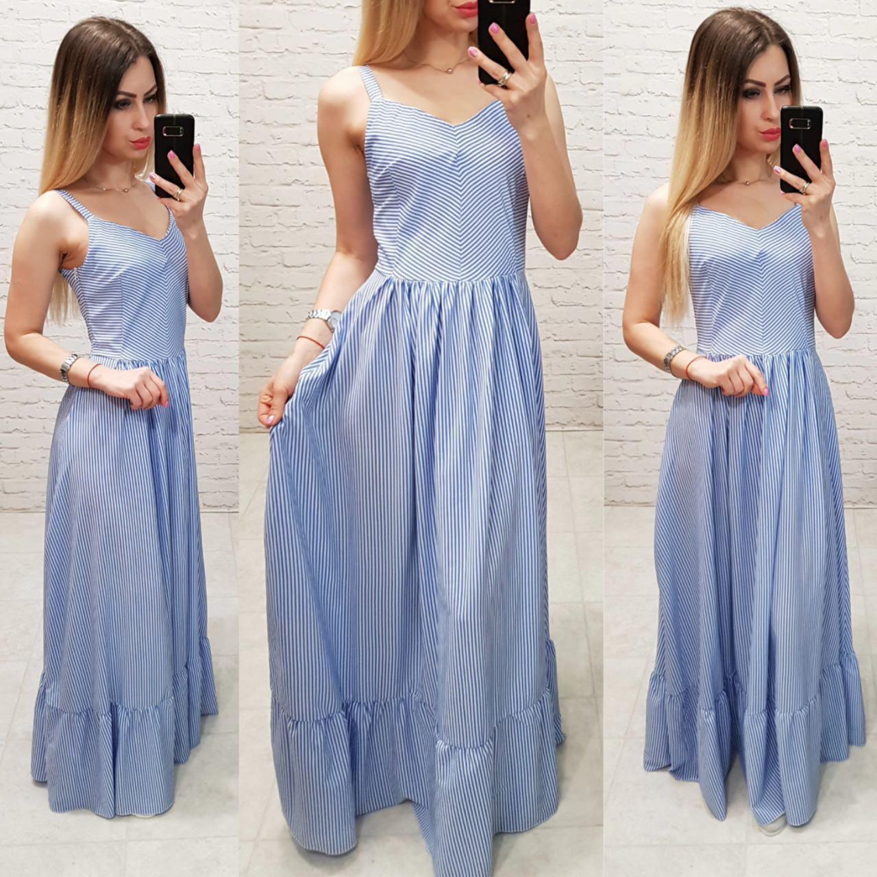 Платье арт 162 голубое в полосочку