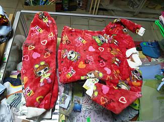 Пижама детская Махровая для девочки р.80-92