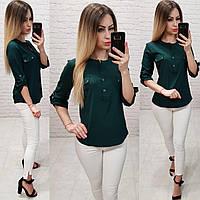 Блуза / блузка арт. 829 бутылочный / темно зеленый, фото 1