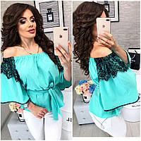 Блуза кружевная арт 107 бирюза / мята, фото 1