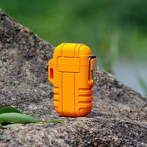 USB зажигалка электроимпульсная на 2 дуги в водонепроницаемом корпусе цвет оранжевый (электронная)