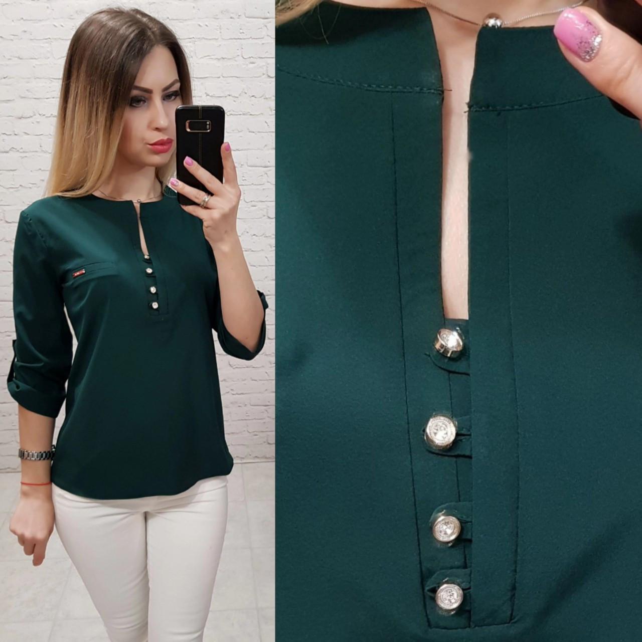Блуза / блузка арт. 830 зелёного цвета  /  темно - зелёный бутылочный