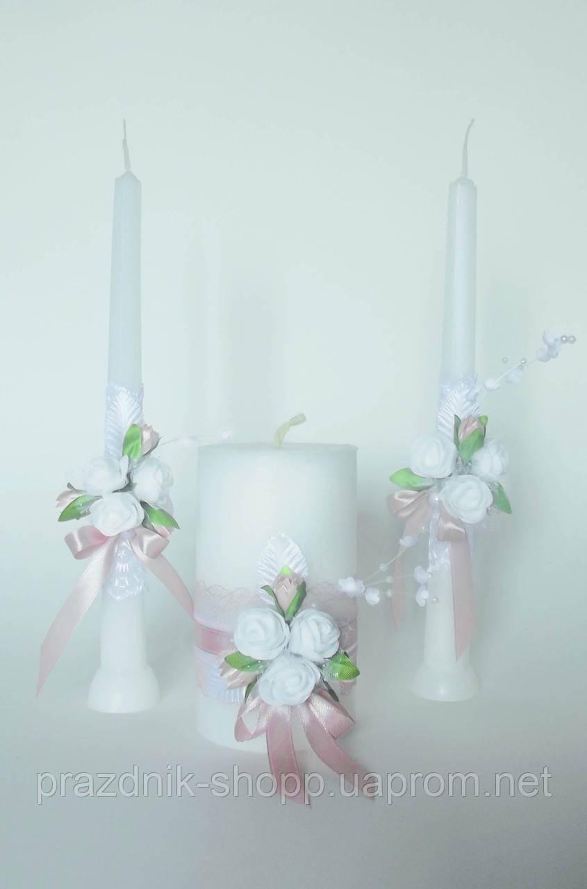 Набор свадебных свечей, пудровый.