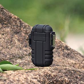 USB зажигалка электроимпульсная на 2 дуги в водонепроницаемом корпусе цвет черный (электронная)