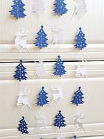 Бумажная гирлянда 2м из оленей и елочек для новогоднего декора