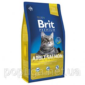 Корм Brit Premium Cat Adult Salmon для взрослых кошек ЛОСОСЬ, 8 кг