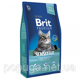 Корм Brit Premium Cat Sensitive для кошек с чувствительным пищеварением ЯГНЕНОК, 8 кг