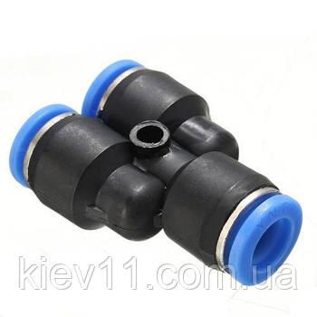 Соединение цанговое для полиуретановых шлангов PU/PR (Y-обр., шланг)  6мм AIRKRAFT SPY06