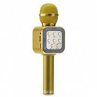 Беспроводной караоке микрофон WS1818 с чехлом - Золотой
