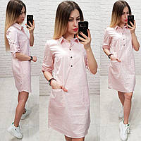 Сукня - сорочка арт. 831 біле в смужку пудра, фото 1