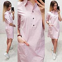 Платье - рубашка  арт. 831 розовая пудра в точку