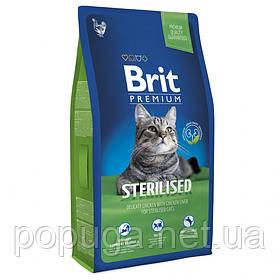 Корм Brit Premium Cat Sterilized для кастрированных котов и стерилизованных кошек КУРИЦА, 8 кг