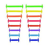 Разноцветные силиконовые шнурки для детей и подростков 16 шт.